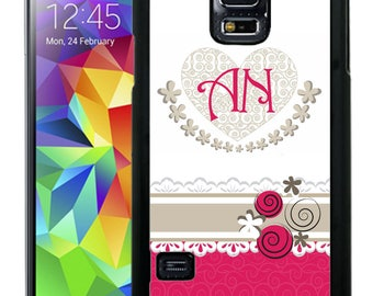 Monogrammed Rubber Case For Samsung Note 3, Note 4, Note 5, or Note 8- Hot Pink Swirls Flowers