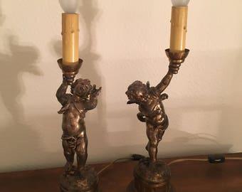 Antique Cherub Lamps