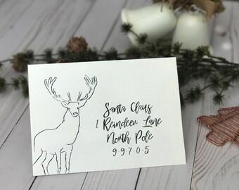 Custom Hand Addressed Holiday Reindeer Envelope