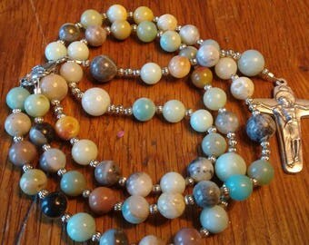 Catholic Rosary, Amazonite Bead, Semi-precious Gemstone, Heirloom Quality,5 Decade Rosary, Heirloom Quality