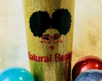Natural Beauty Glitter Tumblers - Melanin Poppin -bridesmaid gifts - personalized gift - party favors - bridesmaid tumblers - girls weekend