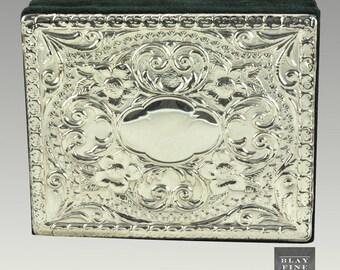 Sterling Silver Trinket Jewelry Box Top 925 Inlay Keepsake Italian Velvet Vintage Gift Gifts for Her