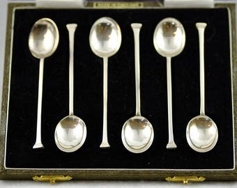 Set of 6 Antique Vintage Sterling Silver Birmingham England English Tea Sugar Spoons with Box