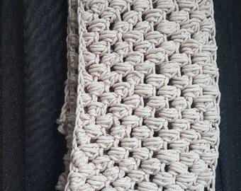 Beige Puff Stitch infinity scarf