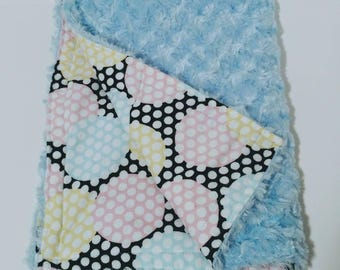 Girls and Boys Unisex Baby Blue Pastel Multicolored Polka Dot Minky Baby Blanket with  Cotton Liner, Reversable, One of a Kind