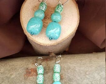 Two pairs of turquoise colored drop earrings