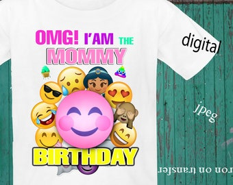 INSTANT DOWNLOAD, Emoji, Iron On Transfer, Emoji Birthday Shirt, Emoji Transfer, Emoji Party, Digital Design, JPEG, Mommy