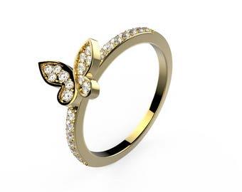 Mini butterfly wedding band - yellow gold