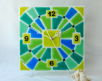 Fused glass Wall clock, Fusing, Fusing wall clock, Spring clock, Wall hanging, Wall decor, Home decor, Interior decor, Gift, Green, Blue.