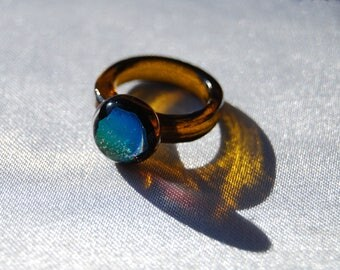 Dichroic Glass ring Size 6 1/2, Amber, Fused glass ring, Recycled Rings, Unusual ring, Handmade ring, Statement ring, Fusing ring.