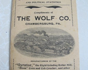 "Pocket Map & Political statistic THE WOLF CO.  Chambersburg, Pa. 1900. 3 1/2 x 5 1/2"" , 8 fold outs"