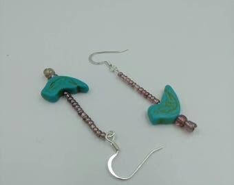 Turquoise birds  Handmade earrings