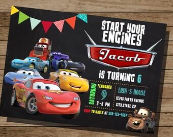 Cars Birthday Invitation,Lightning Mcqueen, Cars Printable