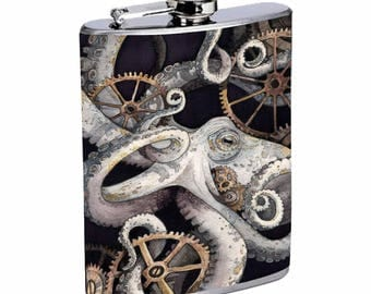Sooku Design Stainless Steel Flask 8oz with Beautiful T-shirt Design Kraken Octopus Steampunk