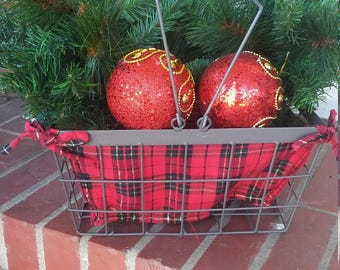 Country Wire Basket Dressed for Christmas