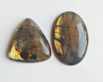 AAA Quality Natural Labradorite 2 Pieces Beautiful Shape Gemstones 152 Carat Weight,  Size - 45x30x8, 37x37x10 MM Approx. Labradorite Stone
