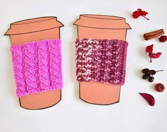 Pack of 2, Cup cozy crochet, cup warmer, coffee sleeve, coffee lover gift, tea sleeve, coffee gift, pink coffee cozy, knit cozy.