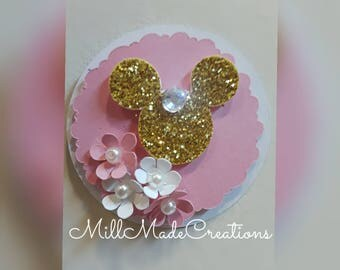 Minnie Gold and Pink elegant cupcake toppers