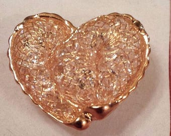 14k Gold Plated Stardust Fishnet with Clear Crystals Large Heart Ring Size 7