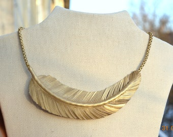 """Leather necklace Feather, Golden Feather Necklace, Leather Feather Jewelry, """"RAVEN"""" Statement Bib Necklace, Boho Jewelry"""