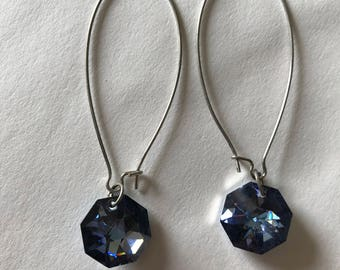 Sparkling blue/purple dangle earrings