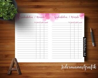 List of Gift ideas-Wish list-Filofax A5 inserter template-Direct download