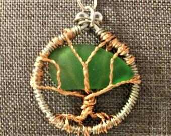 Tree of Life Sea glass pendant - small