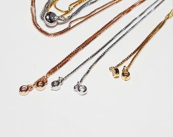 Sliding Adjustable Bracelet Making no tarnish Silver Gold Box Chain With Slider Clasp bolo Bracelet Half finshed Slide Bracelet crystal end