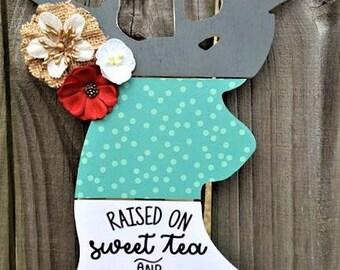 "Deer Head, Antlers, Wall Decor or Door Hanger. ""Raised On Sweet Tea And Jesus""."