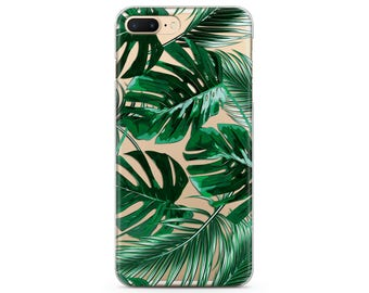 Tropical iPhone case iPhone 5 case floral iPhone 8 plus case Tropical iPhone 6 iPhone 7 clear case Greenery print Tropical plants iPhones 7