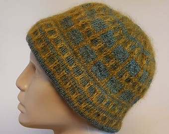 Blue Hand Knit Wool Hat with Handspun Yarn