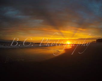 Long Beach Sunset, Long Island, Beach Photo, Rays
