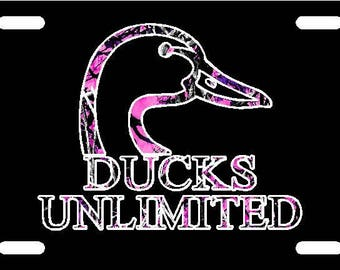 Metal License Plate Ducks Unlimited Camo