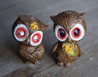 Vintage 70's Owls Salt & Pepper Shakers / Retro Woodland Dining Kitchen Decor