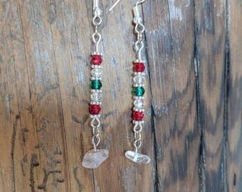 Green, Crystal, and Red Dangle Earrings with a Drop Stone. Winter Holiday, Christmas