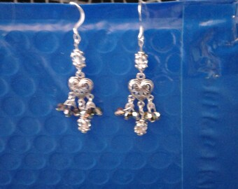 Silver earrings with Swarovski beads