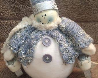 Cozy Blue & White Snowman Decoration