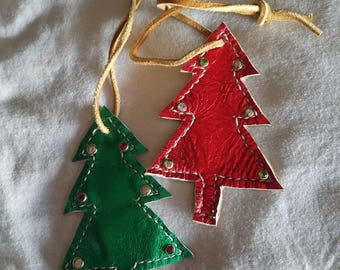 Two tone Leather Christmas tree ornament