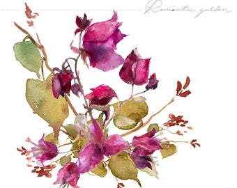 Bougainvillea flowers - Watercolour Flower Clipart - Hand painted Flowers and leaves - Flowers Clipart Set - Wedding Floral Bouquets