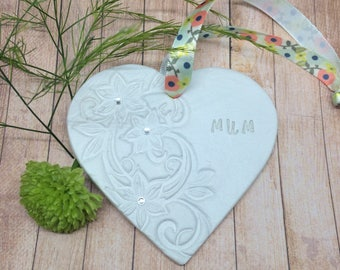 Clay handmade hearts for Mothers Day