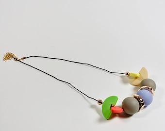 Colourful handmade geometric minimalist necklace