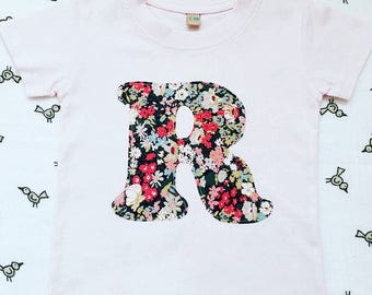 Liberty Initial T Shirt, Children's Personalised Initial Appliqué T Shirt in White, Navy, Grey, Pink, Blue, Baby Girl Outfit, Liberty Print