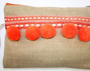 Linen Clutch with Orange Pom Poms
