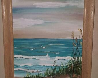 11x14 Framed Canvas board-Beach with seagulls