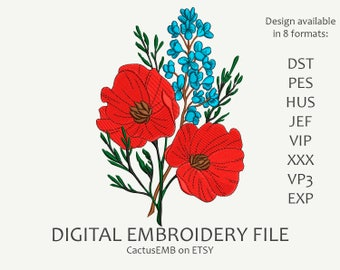 INSTANT DOWNLOAD - Poppys machine embroidery design. Flowers. Embroidery design