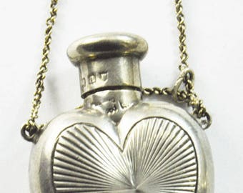 """1896 Sampson Mordan London Sterling Silver Sunburst Heart Perfume Bottle 1.75"""""""