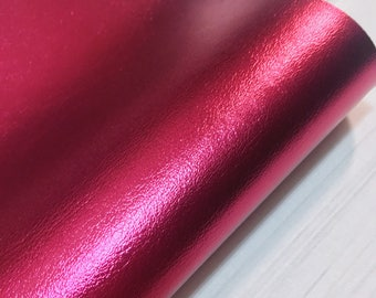 Magenta Pearlised Metallic Faux Leather