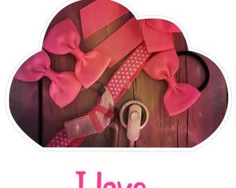 Headband I love Hot Pink