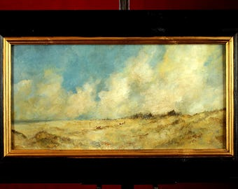 Fine Large English Impressionist School Oil on Board - Extensive Beach Scene