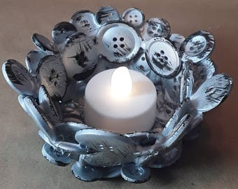Silver and black tee light button candle holder